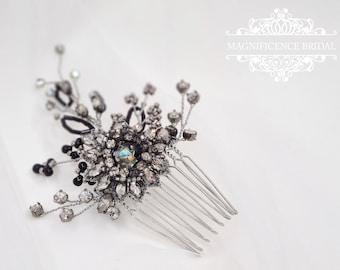 Black hair comb, Bridal headpiece, Wedding headpiece, black wedding theme, black champagne, bridal comb, gunmetal hair comb, ESTELLA