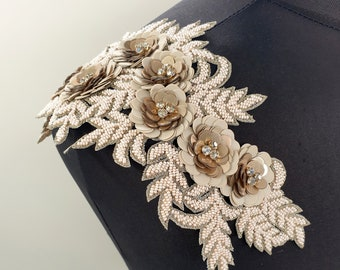 Bridal epaulettes, bridal applique, epaulettes, Shoulder Applique, Shoulder embroidery, luxury applique pair, dress embellishment, ANGELINA