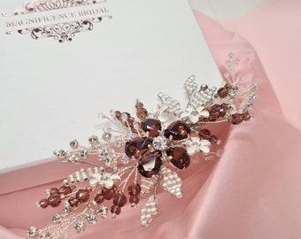 Burgundy hair piece, burgundy hair clip, Bridal hairpiece, wedding hair piece, Bridal headpiece, Wedding headpiece, Bridal hair comb, ESME