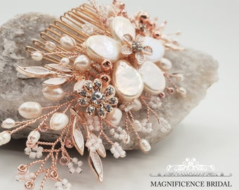 Rose gold bridal comb, Rose gold headpiece, bridal hair comb, rose gold comb, bridal headpiece, wedding comb, gold leaf headpiece, FRANCISCA