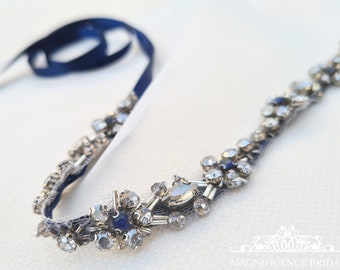 Thin wedding belt, navy bridal belt, gunmetal bridal belt, something blue belt, diamante belt, thin rhinestone belt, bridal belt, LARA