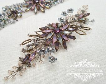 Vintage hair clip, Vintage gold bridal, Gold bridal clip, Multi colour clip, gold hair comb, bronze hair clip, bridal hair clip, AURIA