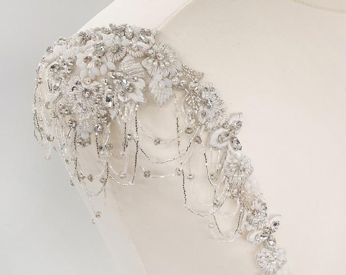 Featured listing image: Bridal straps, wedding dress, Beaded shoulders, beaded belt, beaded straps, bridal accessories, Bridal Epaulettes, dress straps, AMELIE