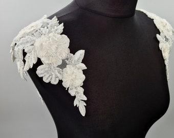 Wedding dress straps, bridal cap-sleeve, ivory bridal straps, bridal straps, beaded straps, Bridal Epaulettes, shoulder straps, JOAN