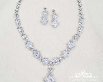 Bridal jewelry, sparkly bridal set, cz bridal set, statement jewelry, bling jewelry set, zircon set, cubic zirconia, jewelry set, KIM