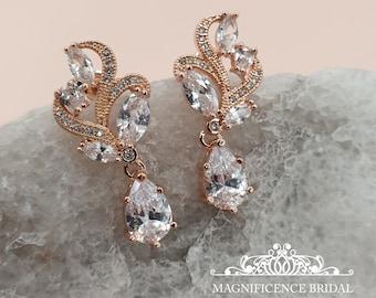 Bridal Crystal Drop Earrings, Pear Cubic Zirconia, CZ Studs Earrings, rose gold earrings, crystal pear shape, rose gold SARAH