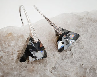 Smoke grey earrings, Crystal earrings, Grey earrings, grey crystal, triangle earrings, triangle crystal, grey wedding, earrings gift, ARI