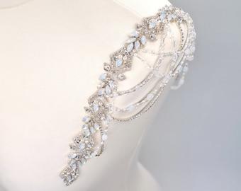 Wedding dress straps, crystal straps, Shoulder beading, epaulettes, bridal straps, drape shoulders, wedding straps, shoulder drapes, ERICA