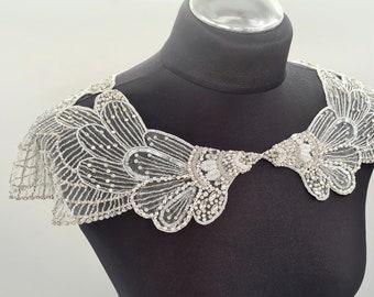 Bridal cover up, shoulder cover up, shoulder jewelry, wedding capelet, wedding dress, beaded neckline, Art Deco wedding, capelet, TULIP