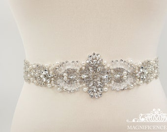 Pearl bridal belt,  bridal belt, wedding dress belt, Diamante belt, crystal belt, rhinestone belt, All around belt, beaded belt, ELAINE