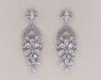 Wedding earrings, Bridal earrings, chandelier earrings, cz earrings, bohemian earrings, bridal chandelier earrings, bohemian earrings, EMMA