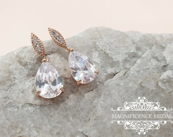 Small drop earrings, crystal drop earrings, drop cz earrings, Rose gold earrings, Bridal CZ Earrings, Bridal earrings, cz earrings, MARGARET