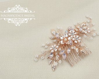 Bridal headpiece, rose gold headpiece, rose gold hair comb, rose gold hair piece, Wedding headpiece, Bridal hair comb, bridal comb, YASMIN