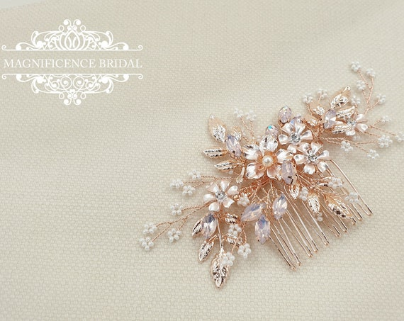 Bridal headpiece, rose gold headpiece, rose gold hair comb, rose gold hair piece, Wedding headpiece, Bridal hair comb, bridal comb, YASMIN
