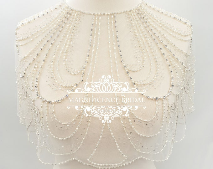 Featured listing image: Art Deco wedding, Bridal cover up, Bridal capelet, shoulder cover up, Great Gatsby, wedding capelet, beaded capelet, bridal wrap, HOLLIE