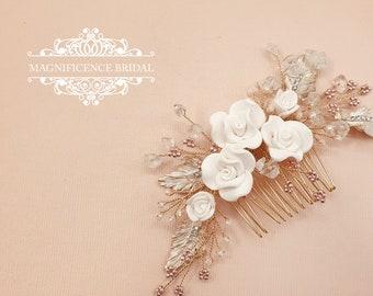 Wedding headpiece, Blush Headpiece, Gold and blush, gold bridal comb, Bridal hair comb, Bridal headpiece, blush comb, bridal comb, LUNA