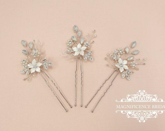 Bridal hair pins, Pearl hair pins, bridal hairpiece, Bridal headpiece, opal hair pins pins, bridesmaid accessory, Pearl headpins, JEN