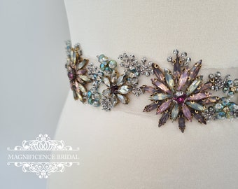 Multi colour belt, bridal belt, colour crystal belt, wide bridal belt, multi colour bridal, statement belt, wide wedding belt AURELIA