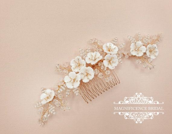 Bridal headpiece, Gold headpiece, Gold bridal comb, gold hair piece, Wedding headpiece, Bridal hair comb, bridal comb, wedding comb, LOLITA
