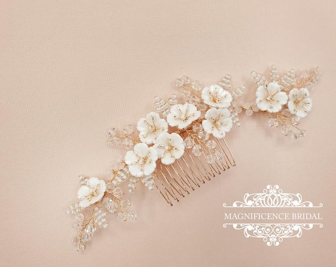 Featured listing image: Bridal headpiece, Gold headpiece, Gold bridal comb, gold hair piece, Wedding headpiece, Bridal hair comb, bridal comb, wedding comb, LOLITA