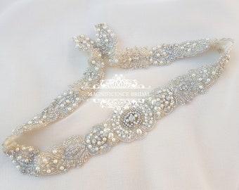 Pearl bridal belt, Bridal belt, All around belt, beaded belt, wedding dress belt, wedding belt, pearl belt, wedding belts and sashes, MARTA