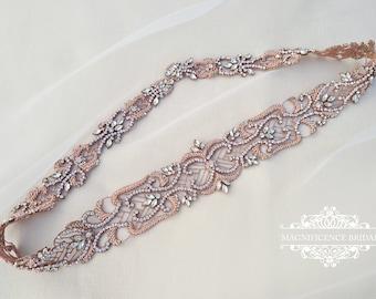 Rose gold bridal belt, Couture bridal belt, blush wedding belt, bridal sash, Bridal belt, wedding dress belt, beaded bridal belt, ADRIANA