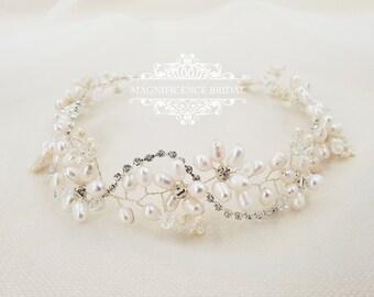 Bridal hair vine, Boho wedding, bridal headpiece, freshwater pearls, pearl hair vine, pearl headband, pearl headpiece, wedding headpiece PAM