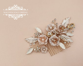Bridal comb, blush comb, Bridal headpiece, blush headpiece, wedding headpiece, gold comb, blush wedding, gold bridal, bridal hair comb, ANYA