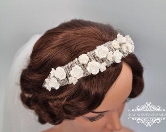 Roses headband, bridal headpiece, wedding headband, bridal tiara, wedding headpiece, white headband, wide headband, bold headband, BLANCHE