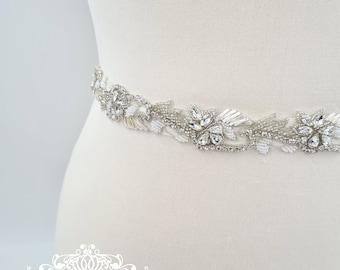 "Bridal belt, bridal sash belt, 1"" wedding belt, ivory bridal belt, wedding belt, beaded belt, wedding dress belt, 1 inch wedding belt, EVIJA"