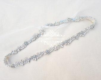 Wedding belt, bridal belt, rhinestone belt, pearl belt, belts and  sashes, dress belt, thin bridal belt, rhinestone trim, beaded belt, ALMA