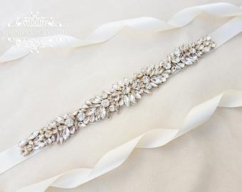 Bridal sash, wedding sash, sash belt, bridal belt, rose gold sash, rose gold sash belt, diamante bridal sash, gold wedding sash, CIARA