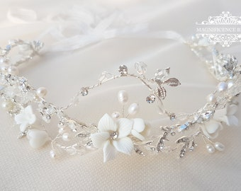 Flower crown, floral crown, bridal headpiece, bridal flower crown, flower halo, wedding tiara, wedding headband, bohemian wedding, FAYRE