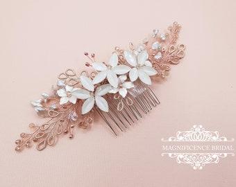 Bridal headpiece, rose gold headpiece, rose gold hair comb, rose gold hair piece, Wedding headpiece, Bridal hair comb, bridal comb JESS