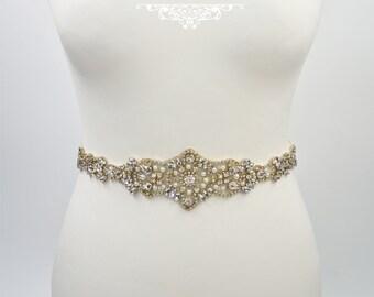 Bridal belt, wedding belt, gold bridal belt, Art deco belt, rhinestone belt, wedding dress belt, wide bridal belt, Art Deco wedding, GAIL