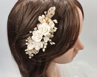 Bridal hair comb, Bridal headpiece, wedding headpiece, bridal comb, floral bridal comb, leaf headpiece, bridal flower comb, FLORENCE
