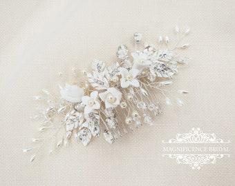 Bridal head piece, bridal hair vine, bridal comb, Bridal hair comb, bridal hair piece, pear hairpiece, Bridal headpiece, pearl comb  IONA