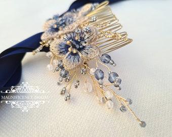 Bridal head piece, gold hair comb, gold comb, navy bridal comb, bridal headpiece, bridal comb, bridal hair comb, gold headpiece LIVIANNA