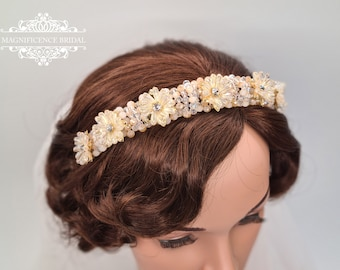 Champagne headband, gold hairband, Bridal headpiece, Wedding headpiece, Bridal hair band, bridal set, gold headpiece, wide headband, KENDRA