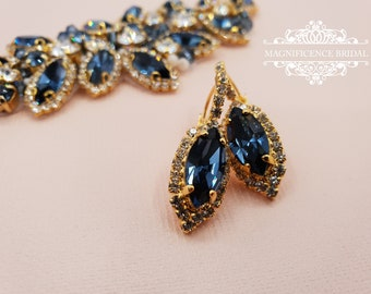 Something blue, Swarovski earrings, Bridal Earrings, blue earrings, Swarovski Denim Blue,  bridesmaid earrings, crystal earrings, CHELSEA