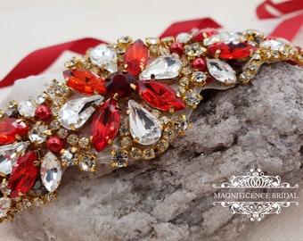 Red bridal belt, bridal belt, deep red sash, gold bridal belt, Bridesmaid sash, Red bridal sash, bridesmaids sash, Christmas wedding, ELIS