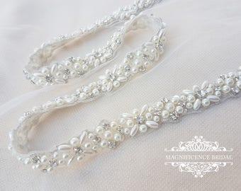 Bridal sash, thin bridal belt, thin bridal sash, thin pearl belt, thin wedding belt, wedding belt, skinny belt, pearl wedding belt, ELINA