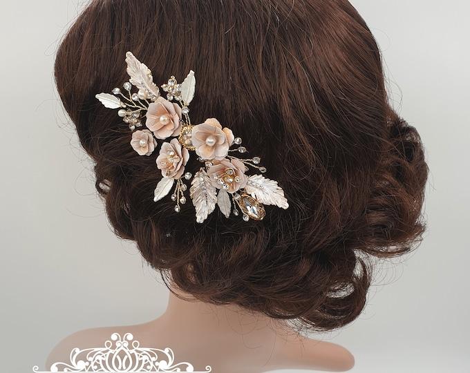 Featured listing image: Bridal comb, blush comb, Bridal headpiece, blush headpiece, wedding headpiece, gold comb, blush wedding, gold bridal, bridal hair comb, ANYA