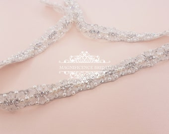 Pearl bridal belt, pearl belt, Bridal belt, thin bridal belt, thin pearl sash, bridal sash, sash belt, wedding belt, rhinestone sash, EVA