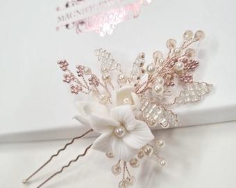 Rose gold pins, Bridal hair pins, bridal hair accessories, wedding hair pins, rose gold pin, Bridal headpiece, bridal hairpiece, KIRA