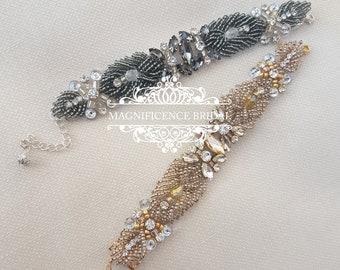 Beaded bridal bracelet, grey bracelet, gold bracelet, wedding bracelet, vintage style, bridal bracelet, beaded bracelet, Boho bracelet JAMIE
