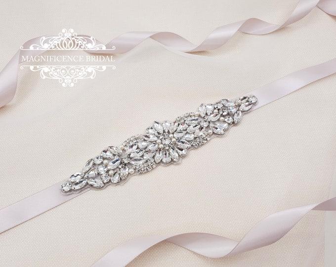 Featured listing image: Bridal applique, bridal belt, bridal embellishment, bridal sash belt, Bridesmaid sash, bridesmaids belt, crystal bridal belt, MILA