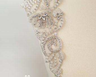 Bridal epaulettes, bridal applique, Shoulder Applique, beaded applique, Shoulder embroidery, luxury applique pair, 1 pair shoulders, AUDREY