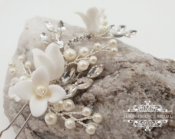 Featured listing image: Pearl hair pin, hair pin set, bridal hair pin, Bridal headpiece, wedding hair pins, bohemian wedding, bridal hair clip, bridal pins, AISHA