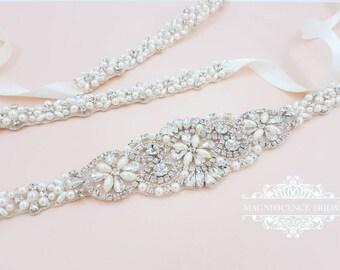 Thin Bridal belt, pearl belt, thin pearl belt, wedding belt, pearl bridal belt, Bridal belt, wedding dress belt, bridal trim, EILISH